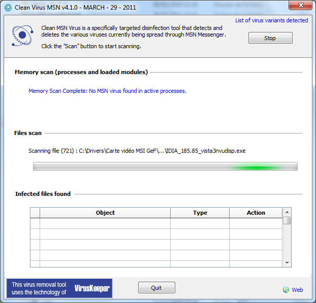 Screenshot of Clean Virus MSN 4.2.0