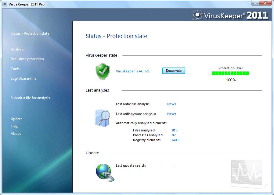 VirusKeeper 2011 Pro screen shot